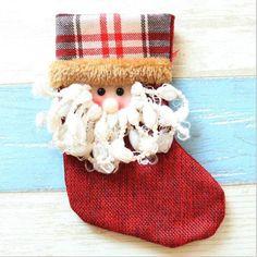 Christmas Stocking Small plaid Santa Claus sock gift bag kids Christmas decoration candy bag Christmas tree ornaments supplies