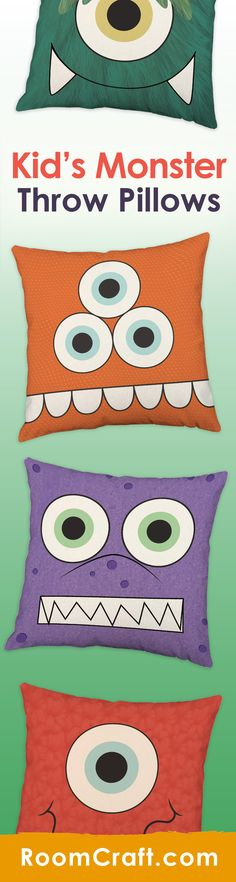Rawr... Arrg... means 'I love you!' in monster. Don't let these crazy critters fool you, our monster throw pillows are cute and cuddly. Each bright design is offered in multiple fabrics, colors, and sizes making them the perfect addition to any kid's bedroom or play room. Our quality kids pillow covers are made to order in the USA and feature 3 wooden buttons on the back for closure. Choose your favorite and create a truly unique pillow set. #roomcraft