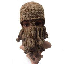 b3921019441c6 Eldritch Mythos Mask. Beard HatOctopus TentaclesBearded MenKnit Beanie ...
