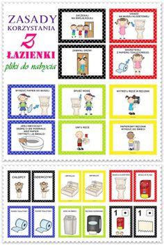 Boberkowy World : Zasady korzystania z łazienki - pomoce do zajęć w przedszkolu Education Humor, Kids And Parenting, Lily, Map, How To Plan, Ideas, Location Map, Orchids, Maps