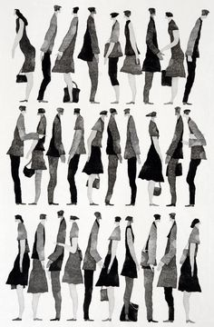 Fashion Illustration 行く手 (To the Future) - Tetsuo Aoki Illustration Design Graphique, Illustration Art, People Cutout, Art Postal, Davidson Galleries, Art Watercolor, Sketches Of People, People Drawings, Architecture People