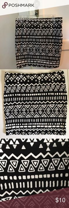 """Forever21 Skirt, Blk/White Aztec Print Mini Forever 21 black & white aztec design mini skirt. Excellent condition, like new. 92% cotton, 8% spandex. Size L but fits like size M. Body con & stretchy. Stock photos are not the exact skirt but similar to illustrate ways to wear & the type of fit it has. Length 16"""", waist 30"""", hips 33"""" but with stretch will go up to about 39"""". Clean, non-smoking home. I package to protect your purchase & ship same or next day. Forever 21 Skirts Mini"""