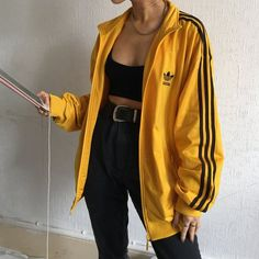 yellow adidas jacket blacl jeans belt top bandeau korean k fashion ulzzang 얼짱 comfy casual outfits clothes spring summer autumn winter school street everyday aesthetic soft minimalistic kawaii cute g e o r g i a n a : c l o t h e s Mode Outfits, Retro Outfits, Grunge Outfits, Trendy Outfits, Vintage Outfits, Yellow Outfits, Yellow Clothes, Yellow Jacket Outfit, 90s Style Outfits