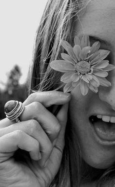 Care free black & white flower