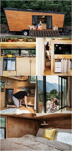 "California Couple DIY Contemporary 236 Square Foot Tiny House - Brian and Joni Buzarde were ready to settle down in California but wanted to do it without getting into a ton of debt and so they decided to build a tiny house on their own with the help of Brian's architect degree and experience. The ""Woody"" tiny house ended up costing around $50,000 and measuring 236 square feet with a contemporary look."