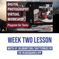 SUMMER READING PROGRAM UPDATE: Week Two of the Digital Photography Workshop for Teens is now available! Watch the video about composing with color and what your first photography project is at jhlibrary.org/shutterbugs or jhlibrary.readsquared.com. 📷 #SRP2020 #ImagineYourStory