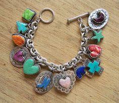 Joan Silfka Southwestern Sterling Silver And Gemstone Charm Bracelet