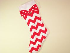 Chevron stocking with polka dot bow and jingle bell by betsstuff, $25.00