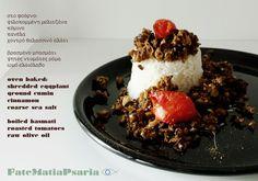 """Minced eggplant """"meat"""" and Roma roasted tomatoes on basmati rice #vegetarian #vegan #dairyfree #glutenfree"""