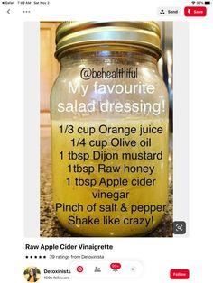 Salad dressing with oj, Apple cider vinegar Vinegar Salad Dressing, Salad Dressing Recipes, Sauce Recipes, Cooking Recipes, Keto Recipes, Raw Apple Cider Vinegar, Apple Cider Vinegar Dressing Recipe, Homemade Seasonings, Apple Recipes