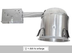 """Also Pre-wired junction box is provided with 1/2"""" and 3/4"""" knockouts and with removable access plates.   Height 5 1/2"""" allows the use in 2 x 6 ceiling construction   UL Listed for damp locations and feed through.   This housing includes gasket, meets CA Title 24 code  Lamp: 75W max    Dimension: Height: 5 1/2"""", Ceiling Opening: 5 1/2""""  Regular price: $22.38  Sale price: $12.55"""