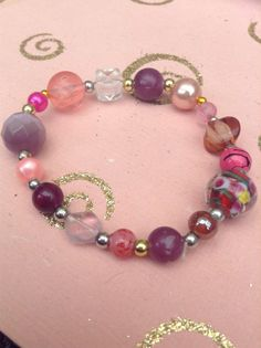 Pink purple and red 'mix and match' glass by HarxieXbracelets