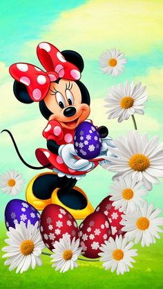 Minnie with flowers! Disney Mickey Mouse, Mickey Mouse E Amigos, Mickey Mouse Kunst, Minnie Mouse Cartoons, Mickey Mouse And Friends, Cartoon Wallpaper, Mickey Mouse Wallpaper Iphone, Disney Wallpaper, Fairy Wallpaper
