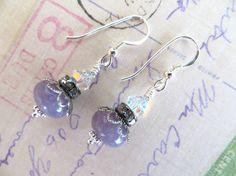 Purple #sugilite Gemstone & Swarovski Drop Earrings by tuscanroad