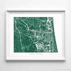 Gold Coast Australia Street Map Wall Decor Poster. 70 Color Options. Prices from $9.95. Available at InkistPrints.com - #streetmap #map #homedecor #walldecor #GoldCoast #Australia