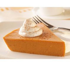 Lite 'n Easy Crustless Pumpkin Pie | Meals.com - This creamy and refreshing pumpkin pie is made without a crust - simply mix and refrigerate, then dig in! #thanksgiving #pumpkinpie