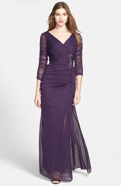 Womens Adrianna Papell Beaded Mesh Gown Size 16 - Purple $158.00 AT vintagedancer.com