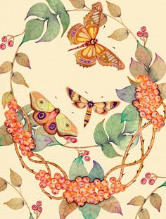 Autumn Hues Buttermoths Watercolor, ink, pen and pencil