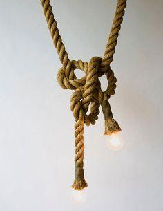 Luminária pendente com corda sisal!