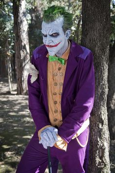 The Joker cosplay. This man's face is perfect!