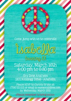 Peace Birthday Party Invitation  DIGITAL FILE by PinkDandelions, $12.50
