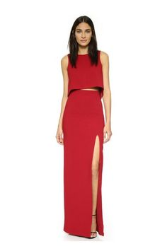 Red Two-Piece Set Maxi Dress (SHOPBOP). Long & Short Bridesmaid dresses (and jumpsuits) in colors perfect for any fall/winter wedding (and even all year round).