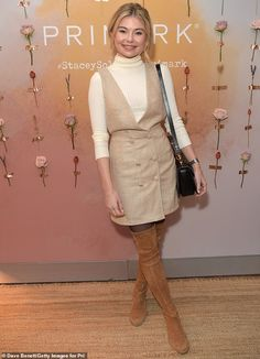 Cream dream: She was joined at the bash by former Made In Chelsea star Georgia Toffolo, wh. Louisa Lytton, Warm Autumn, Fall, Stacey Solomon, Pantyhose Outfits, Made In Chelsea, Polo Neck, Celebrity Outfits, Winter Wear