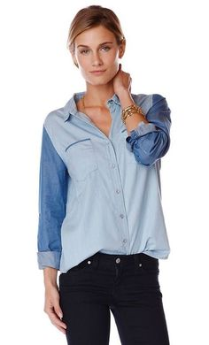 Contrast Chambray Shirt / Also in September's $49 & $149 #goldentote