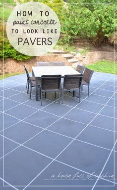 A house full of sunshine: Backyard Makeover! How to paint concrete to look like oversize pavers