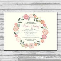 Pastel Flower Bridal Shower Invitation - customized 5x7 printable - romantic flower print bridal shower invites