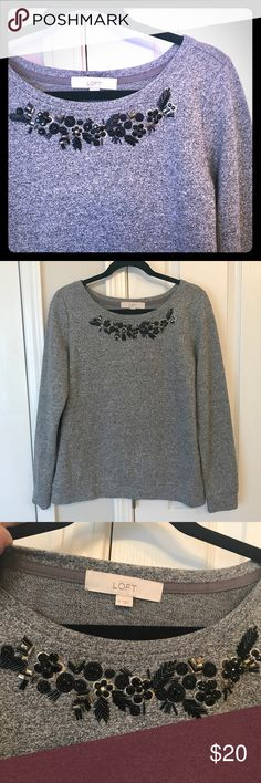 Beautiful Beaded LOFT Sweater Perfect condition. Beaded collar. LOFT Sweaters