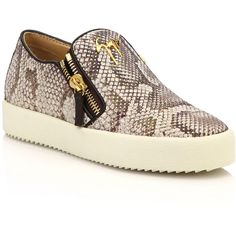 Giuseppe Zanotti Snake-Embossed Leather Zip Skate Sneakers ($705) ❤ liked on Polyvore featuring shoes, sneakers, apparel & accessories, natural, rubber sole shoes, round toe sneakers, genuine leather shoes, leather upper shoes and giuseppe zanotti sneakers