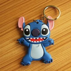 Keychain Lilo Stitch pvc key chain anime cartoon car motorcycle ring... ❤ liked on Polyvore featuring accessories, keychain key ring, animal key chains, fob key chain, comic book and ring key chain