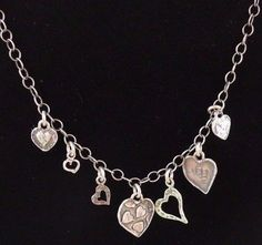 SILPADA NEW in BOX .925 Sterling Silver Hammered Hearts Charm Necklace N2052 #Silpada