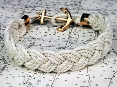 braided bracelet with anchor , superrr cute