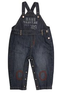 Naartjie Kids SA newborn boys denim dungarees with front panel print and knee patches.