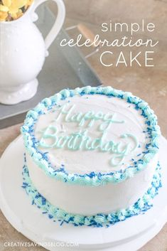 Simple Celebration Cake Tutorial This girl makes decorating a cake look so easy! I'm going to try this instead of buying a sheet cake for my daughter's next birthday party. My biggest takeaway—level your cake BEFORE you decorate! Birthday Cakes For Men, Diy Birthday Cake, Homemade Birthday Cakes, Birthday Cake Decorating, Simple Birthday Cakes, Simple Birthday Cake Designs, Women Birthday, 40th Birthday, Teen Cakes