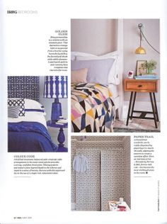 Hand-embroidered Harlequin Throw featured in Homes & Gardens Finishing Touches supplement May 2014 in association with Heal's.