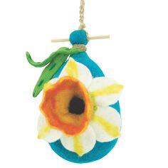 Global Crafts Handmade Wild Woolies Felt Daffodil Birdhouse (Nepal) (Felt Birdhouse - Daffodil), Multi, Outdoor Décor