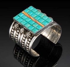 Artist: Mike Bird-Romero, Title: Sterling Silver Bracelet with Stinich Turquoise and Lions Paw Shell