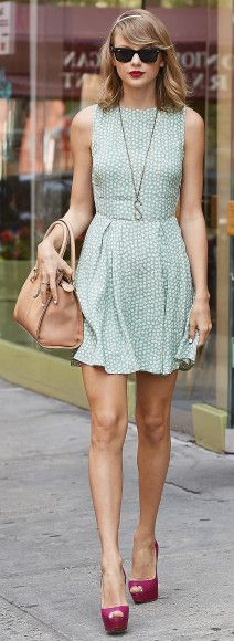 Taylor Swift's Mint green floral dress with side cutouts
