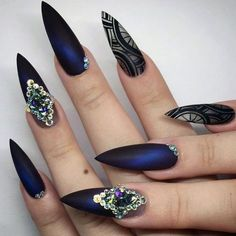 21 Fab Ideas for Stiletto Nails Designs: Create Your Look ❤ Cute Stiletto Nails on Matte Base picture 2 ❤ Get your daily dose of nailspiration with our collection of stiletto nails. These nail design ideas will show you the best ways to create statement nails. https://naildesignsjournal.com/stiletto-nails-hip-ideas/ #nails #nailart #naildesign #stilettonails