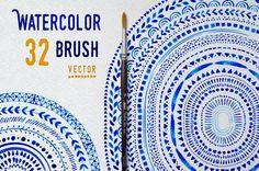 Vector Watercolor Brushes by ZiziMarket on @creativemarket