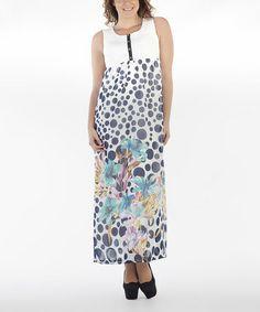 Another great find on #zulily! Blue & White Dot Button Maxi Dress - Women #zulilyfinds