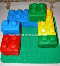 Homemade Lego Cake: I made this Lego cake starting with 4 9X13 cakes.  I make the cakes and froze them until frozen (a couple days).  Next cut them into 3rds then the 3rds