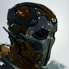Face speedpaintings 3 on Behance by CYBE Mikołaj Piszczako Cyberpunk Character, Cyberpunk Art, Robot Concept Art, Armor Concept, Robot Design, Helmet Design, Star Citizen, Character Concept, Character Design