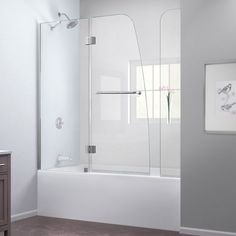 DreamLine Aqua H x to W Frameless Hinged Chrome Bathtub Door at Lowe's. The DreamLine Aqua is frameless shower or tub screen with European appeal and modern architectural design. With a stunning curved silhouette that creates Tub Shower Doors, Bathtub Doors, Frameless Shower Doors, Shower Enclosure, Bathtub Shower, Glass Bathtub, Bathtub Enclosures, Bathroom Doors, Acrylic Shower Base