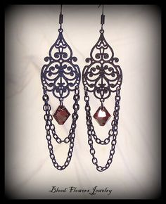 TEMPEST Gothic Victorian Black Filigree Chandelier Earrings with Siam Ruby Swarovski Crystals