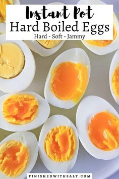 Instant Pot Hard Boiled Eggs are so incredibly easy to peel and come out perfect every time. I've detailed 3 different ways to cook eggs in the Instant Pot: hard boiled, soft boiled and what I call jammy eggs with a still partly runny yolk. Cook as few eggs as you want or as many as a dozen. #finishedwithsalt #instantpothardboiledeggs #instantpot #softboiledeggs #easyrecipe #instantpotrecipe #keto #whole30 #paleo | finishedwithsalt.com