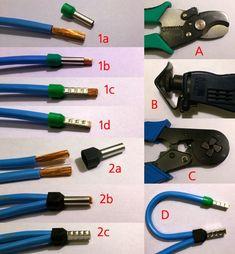 Обжим многожильного  провода наконечниками НШВИ/НШВИ2: 1а - снятие изоляции; 1b - насаживание наконечника; 1с - обжим; 1d - подрезка; 2а - двойной наконечник; 2b - насаживание наконечника 2с - обжим и подрезка; A - кабелерез; B - инструмент для снятия изоляции; C - обжимные клещи; D - результат.